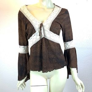 Shasa Brown and White Lace Top